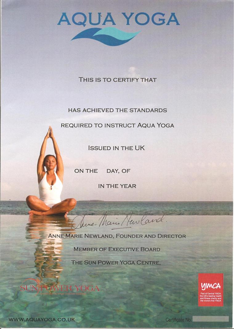 Aqua Yoga Certificate BLANK 001