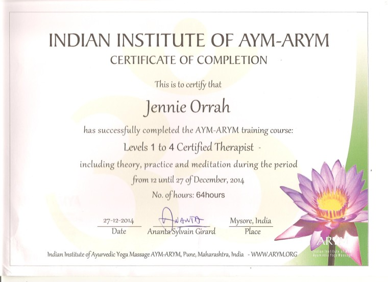 ARYM certificate Dec 2014