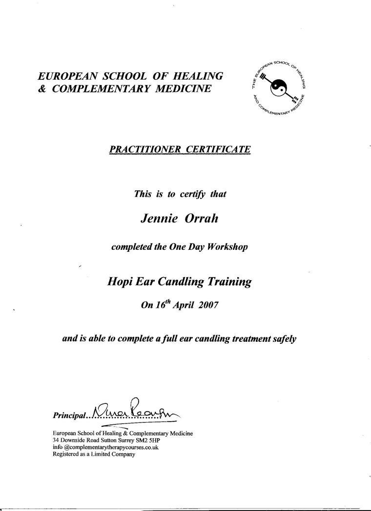Hopi Ear Candling Certificate 001