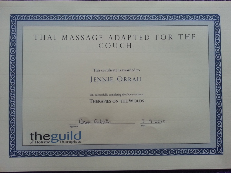 Thai Couch Massage Certificate